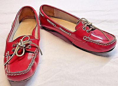 831cbf4c0b8 Sperry Top-Sider Red Patent Leather Loafers Boat Shoes Women s Size 7.5 M