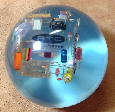 Vintage Big Lucite Paperweight RTC Paris France Computer, Electronic Components!