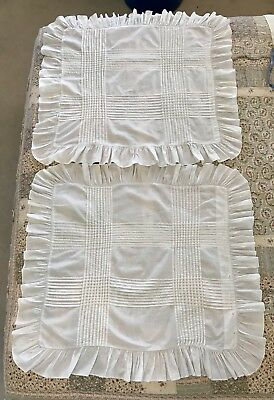 "Beautiful Large Antique Victorian  Pin Tuck Pillow Covers Shams 30""!"
