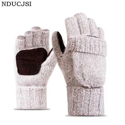 Winter Warm Exposed Finger Mittens Knitted Warm Flip Half Finger Gloves Men Wome