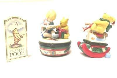 Lot of 2 Winnie the Pooh Midwest of Cannon Falls Trinket Boxes Christmas