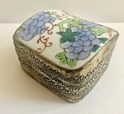 Vintage Chinese Shard Box Silver Plate With Porcelain Lid Pretty Grapevine Theme