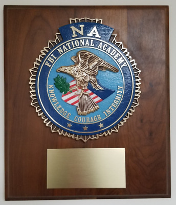 "FBI NA National Academy Full Color 3D Wall Walnut Plaque 14"" H X 12"" W"