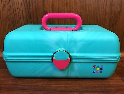 Vintage Caboodles Makeup Case Aqua Teal Hot Pink Cosmetic Organizer 80s 90s