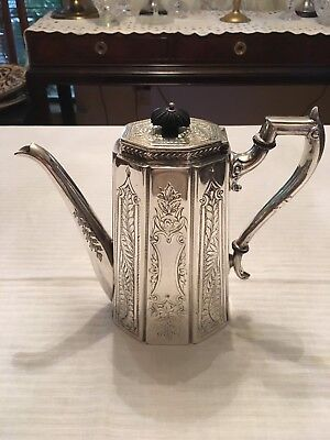 Vintage Victorian Engraved Silver Plated Bulbous Teapot/coffee Pot 1890 C