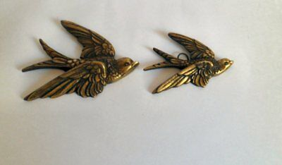 Pair of Lovely Vintage Brass Graduated Flying Swallows