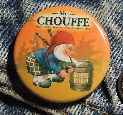 Pin Button Badge Ø38mm  Mc chouffe Brune ( 9 )