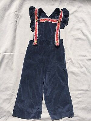 Vintage Toddler Overalls Girls Size 2T Blue Velvet Red Trim European Style