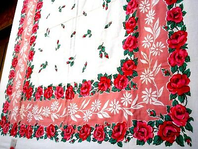 Vintage 40's Coronet red Rose tablecloth NWT never been used