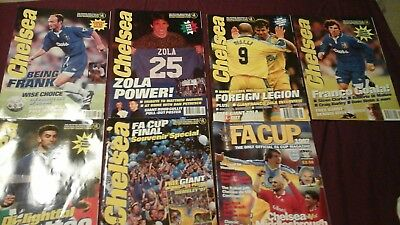 Chelsea Football Club 6 Official Magazines issues 2, 4, 5, 6, 7, 9 & FA Cup 1997