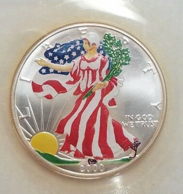 2000 1 oz American Silver Eagle $1 Coin PAINTED in Plastic Capsule (95)