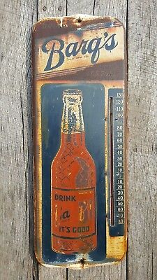 Vtg Barq's Root Beer Thermometer Rustic Soda Advertising Country Store Salvage