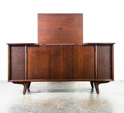 mid century modern stereo console rca victor wood vintage record