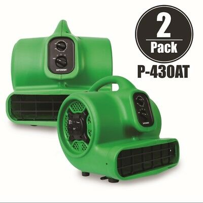 XPOWER P-430AT 1/3 HP Air Mover Carpet Dryer Blower Fan w/ Timer 2 Pack