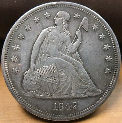 1842-P Seated Liberty Dollar Silver Coin XF Condition! Possible Proof? (C)
