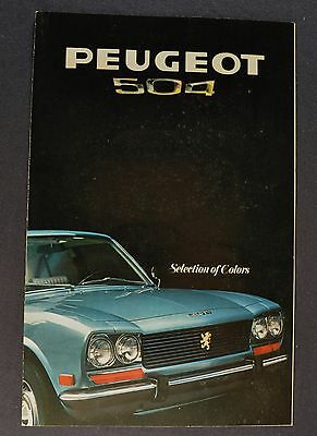1970 Peugeot 504 Paint Chip Colors Brochure Folder Excellent Original 70