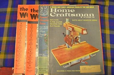 Grp of 4 Vintage Woodworking Magazines from 50-60s-Home Craftsman&Home Workshop