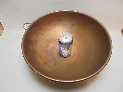 "Vintage 14.5"" LARGE COPPER MIXING Rolled Edge Brass Handle Whipping CHEFS BOWL"