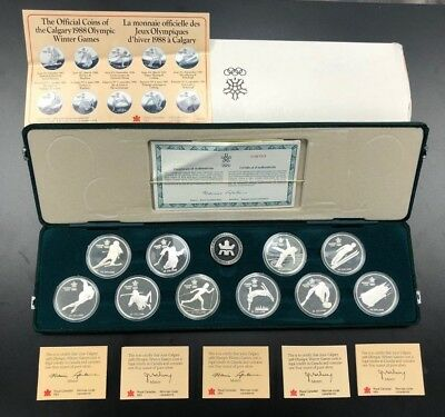Official Silver Coins of the Calgary 1988 Olympic Winter Games w/ Box & COA RCM