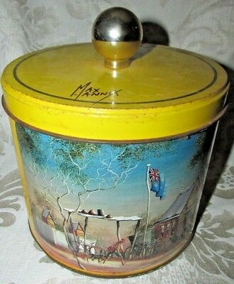 Vintage MAx Mannix TIN CANISTER Evening Revellers & You're Late .....AGAIN A/F
