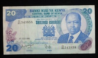 1984 Bank of Kenya 20 Shillings Banknote Paper Money Twenty Currency Circulated