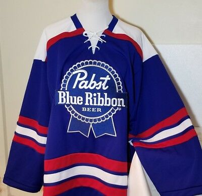 Pbr Pabst Blue Ribbon Beer Vintage Hockey Blue Collectible Jersey Shirt Sz Large