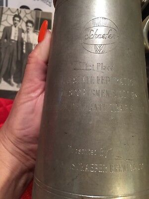 Vintage Schaefer Beer Stein Pewter 1st Place NJ Trap Shoot 1966 Convention Clubs