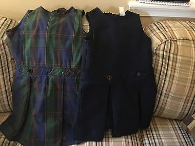 Flynn & O'Hara Girls Size 6 Jumper Uniform Red Green Navy Plaid Pleated Lot Of 2