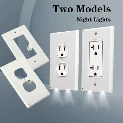 Duplex 2 LED Night Angel Light Sensor Plug Cover Wall Outlet Cover Plate Switch