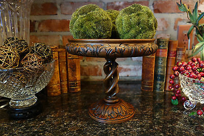 Antique English Carved Oak OPEN BARLEY TWIST Compote Fruit Flower Bowl Stand