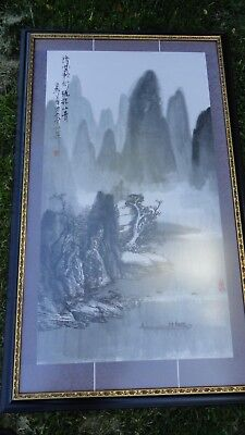 old? chinese? japanese? ink watercolor painting signed mountain from scroll? vtg