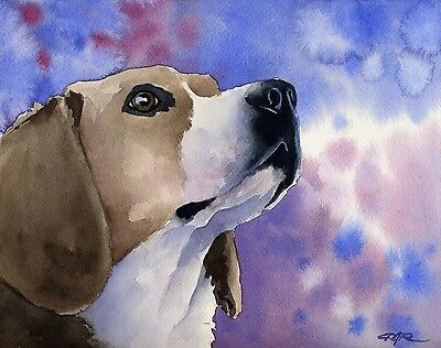 BEAGLE Painting Dog 8 x 10 ART Print Signed by Artist DJR