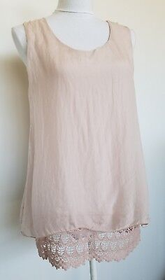 9f4c2f2d24ea2 Elena Baldi 100% Silk Blouse Top Lace Blush Pink Made in Italy Size S NWT