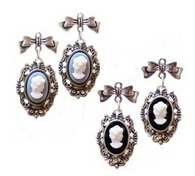 Earrings, Blue and White cameo silver bow, clip on or pierced, Vintage style