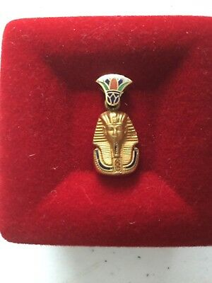 Rare Egyptian Stamped 18K Yellow Solid Gold King TUT Colorful 2Cm Pendant Unisex