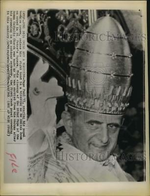 1963 Press Photo Pope Paul VI at St.Peter's Square in his papal crown