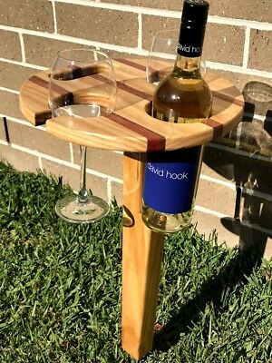 Folding Timber Wine Table - Outdoor Wine Glass Holder - Picnic Wine Table