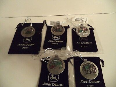 John Deere Pewter Christmas Ornaments Set OF 5 01,02,04,05,07