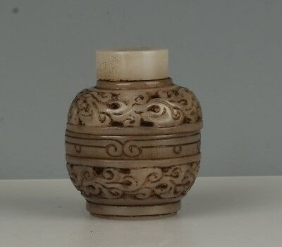 Chinese Exquisite Hand-carved flower carving hollow out Hetian jade pot