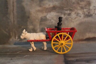 vintage antique cast iron farm wagon cart toy with steer and farmer unmarked