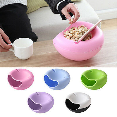 Double Layer Snack Fruit Plate Bowl Dish with Phone Holder Home Lazy Tools AU