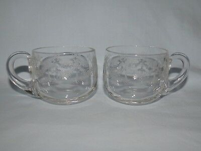 pair of EDWARDIAN ERA c.1900 FINE DECORATED GLASS PUNCH OR CUSTARD CUPS