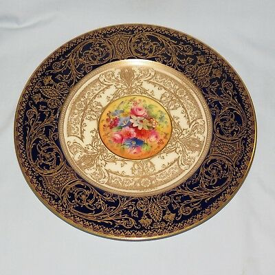 Royal Worcester Handpainted And Heavily Gilt Plate Blue Floral E Phillips