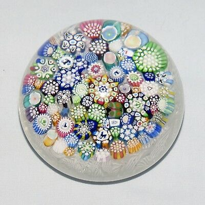 JOHN DEACONS GLASS SCOTLAND Closepack Millefiori paperweight on White Lace