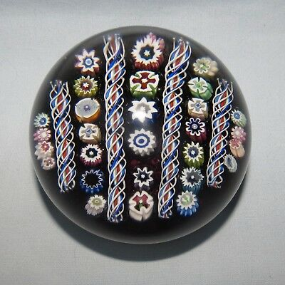 JOHN DEACONS SCOTLAND GLASS LINEAR MILLEFIORI PAPERWEIGHT Cola colour
