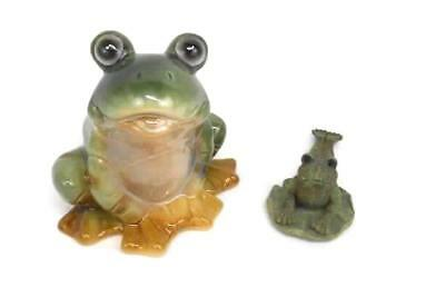 Lot Of 2 Frog Figurines Ceramic Pewter Home Decor Unbranded