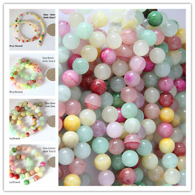 Bulk Natural Round Shape Gemstone Multi-Color Loose Spacer Beads String 4-12mm