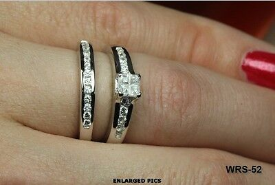 1.21C Princess Cut Cz Vintage Stunning Bridal Engagement Ring Wedding Ring Set