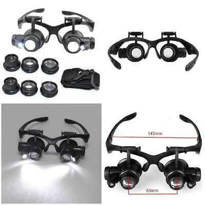 New 8 Lens Magnifier Magnifying Eye Glass Loupe Jeweler Watch Repair+LED Light