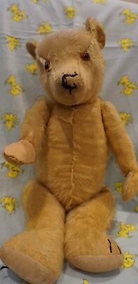 Vintage Mohair Teddy . Unknown Maker . Well Loved . Glass Eyes . 46cm